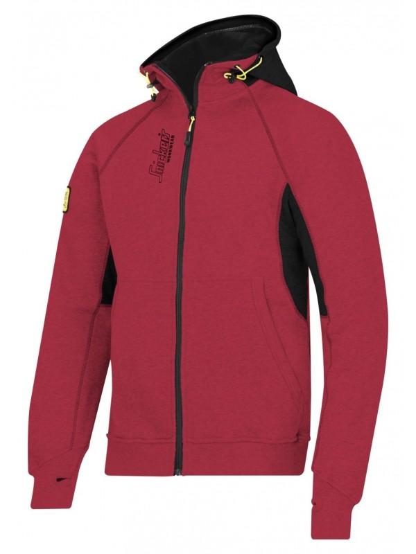 Sweat shirt à capuche zippé avec logo rouge