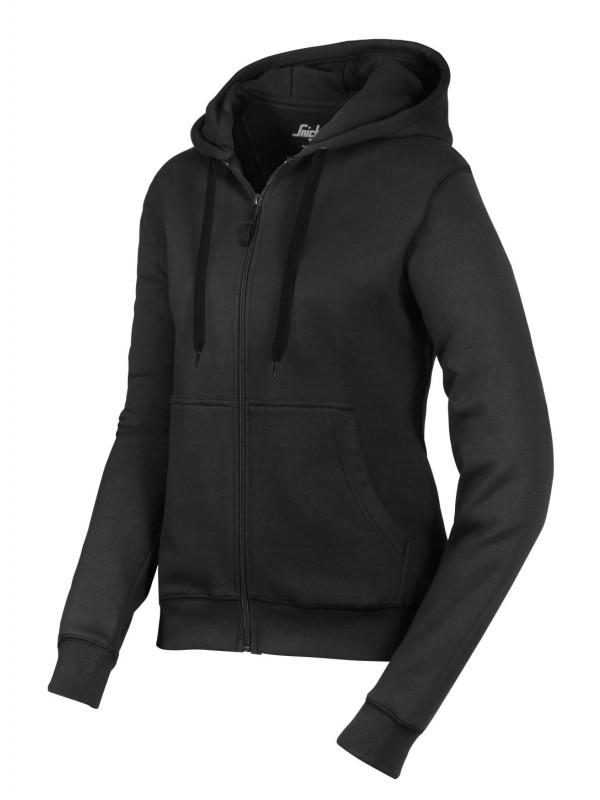 Sweat-shirt à capuche zippé pour femmes noir